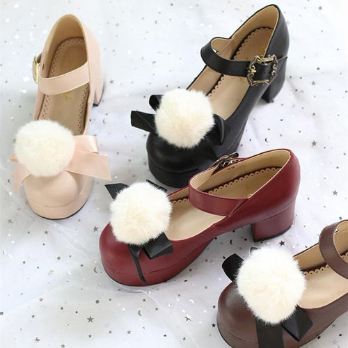 [Reservation]5 Colors Sweet Plush Ball Heel Lolita Shoes S13102