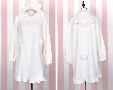 [Reservation] Black/White/Pink Plush Lolita Bathrobe Dress SP1711083