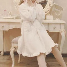 Load image into Gallery viewer, [Reservation] Black/White/Pink Plush Lolita Bathrobe Dress SP1711083