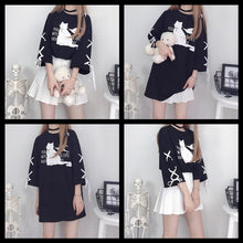 Load image into Gallery viewer, [Reservation] Black/White Magic Cat Laced Long Shirt SP13682