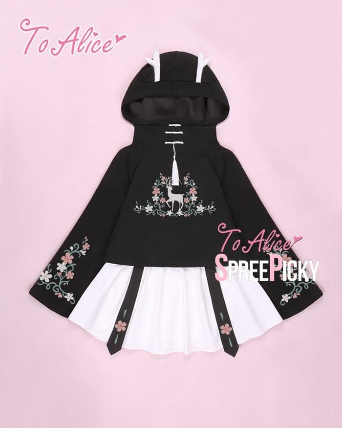 [Reservation] Floral Deer Hoodie Jumper/Skirt SP1711063