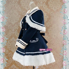 Load image into Gallery viewer, [Reservation] Navy/Pink/Wine Lolita Woolen Sailor Cape Coat S13124