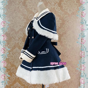 [Reservation] Navy/Pink/Wine Lolita Woolen Sailor Cape Coat S13124