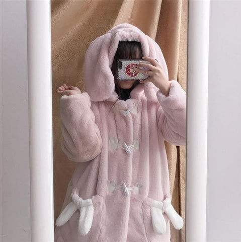 [Reservation] Pink Cute Fluffy Bunny Jacket Coat SP1710981