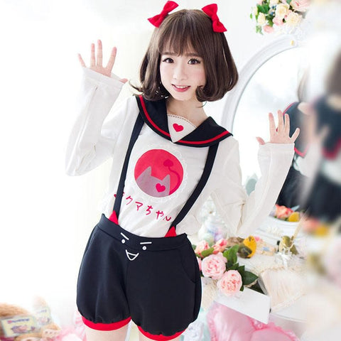 Reservation S/M/L Kawaii Devil Girl Suspender Shorts/Shirt SP168059