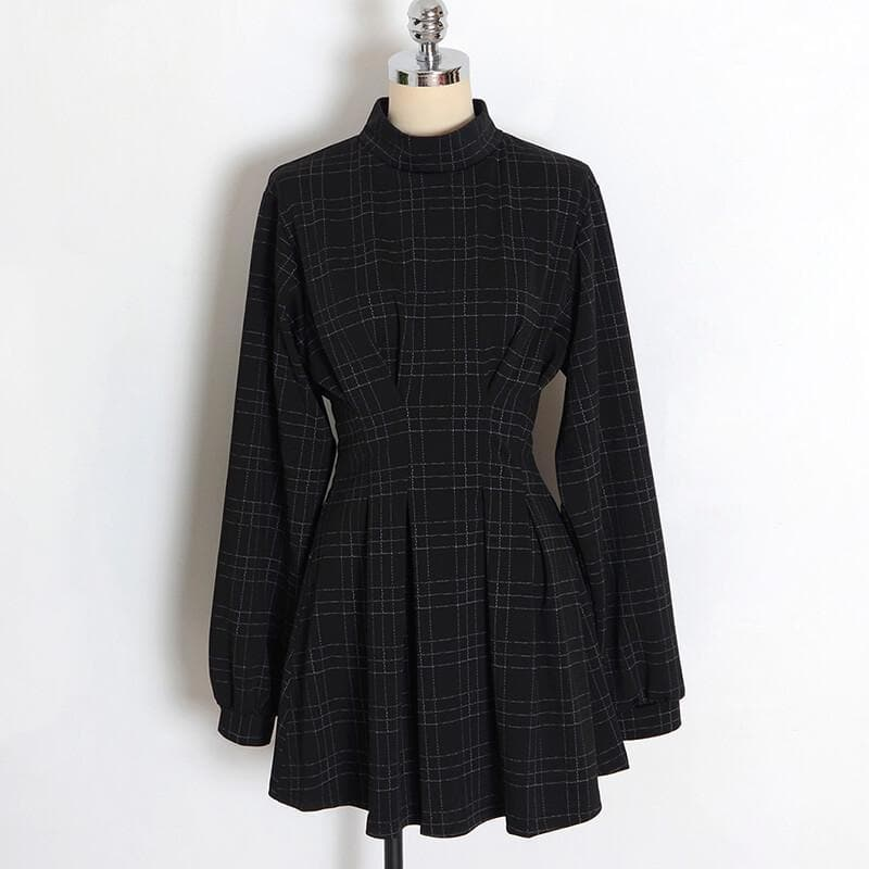 Black Plaid Punk Gothic Dress SP14531
