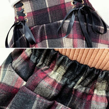 Load image into Gallery viewer, Red/Blue Retro Woolen Plaid Lace-up Skirt SP14507 - SpreePicky FreeShipping