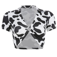 Ring Hollow Out Cow Prints Crop Top SP13692
