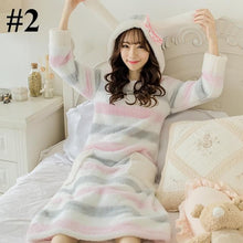 Load image into Gallery viewer, Pastel Bunny Coral Velvet Pajamas Dress S13025