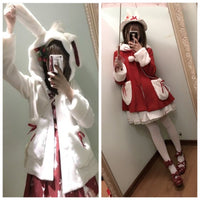 Red/White Kawaii Plush Ears Hoodie Coat S13127