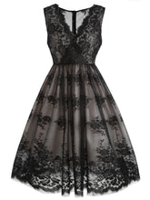 Load image into Gallery viewer, Black 1950s Lace Floral Swing Dress - DelaFur Wholesale