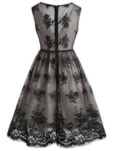 Black 1950s Lace Floral Swing Dress - DelaFur Wholesale