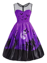 Load image into Gallery viewer, Orange/Purple 1950s Halloween Patchwork Dress SP14291