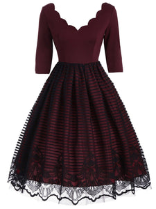 Wine Red 1950s Lace Patchwork Dress - DelaFur Wholesale