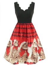 Load image into Gallery viewer, Red 1950s Christmas Cat Swing Dress - DelaFur Wholesale