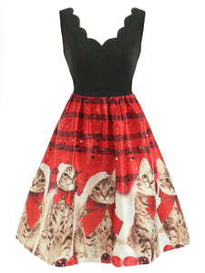 Red 1950s Christmas Cat Swing Dress - DelaFur Wholesale