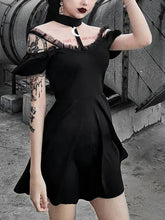Load image into Gallery viewer, Halloween Steampunk Lace Gothic Black Swing Dress - SpreePicky FreeShipping