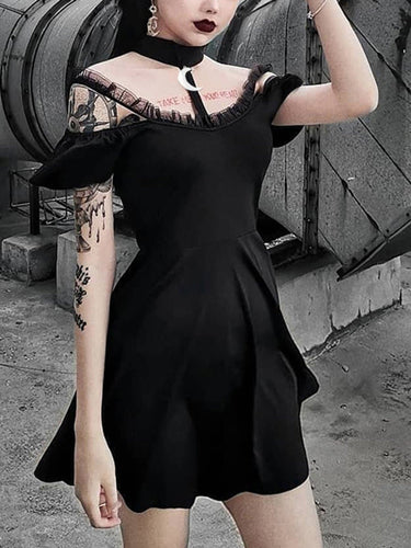 Halloween Steampunk Lace Gothic Black Swing Dress