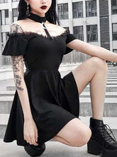 Load image into Gallery viewer, Halloween Steampunk Lace Gothic Black Swing Dress