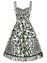 Load image into Gallery viewer, 1950s Halloween Skull Fringed Cami Dress - SpreePicky FreeShipping