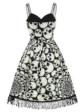 Load image into Gallery viewer, 1950s Halloween Skull Fringed Cami Dress