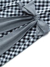 Load image into Gallery viewer, Grey 1950s Plaid Bow Swing Dress - DelaFur Wholesale