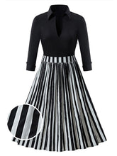 Load image into Gallery viewer, Black 1950s Stripe Patchwork Swing Dress - DelaFur Wholesale