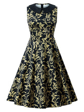 Load image into Gallery viewer, Black 1950s Floral Collar Swing Dress - DelaFur Wholesale