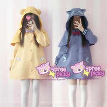 Load image into Gallery viewer, S/M Blue/Yellow Kawaii Two Pieces Set Uniform Hoodie Cape With Poncho SP168371