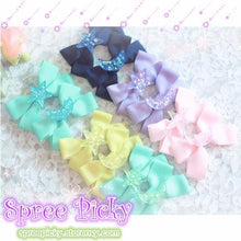 Load image into Gallery viewer, Pastel Cute Jelly Glitter Moon/Star/Heart/Sakura Bows Hair Clip SP130250 - SpreePicky  - 1
