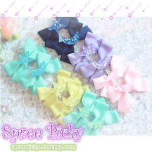 Pastel Cute Jelly Glitter Moon/Star/Heart/Sakura Bows Hair Clip SP130250 - SpreePicky  - 1