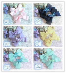 Pastel Cute Jelly Glitter Moon/Star/Heart/Sakura Bows Hair Clip SP130250 - SpreePicky  - 2