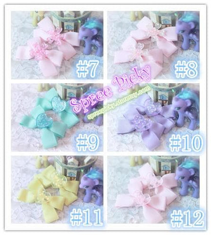 Pastel Cute Jelly Glitter Moon/Star/Heart/Sakura Bows Hair Clip SP130250 - SpreePicky  - 3