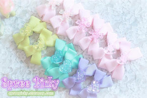 Pastel Cute Jelly Glitter Moon/Star/Heart/Sakura Bows Hair Clip SP130250 - SpreePicky  - 4