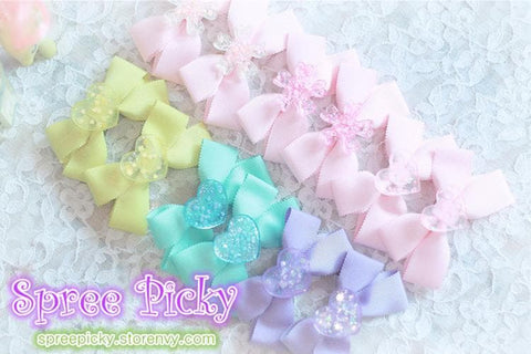 Pastel Cute Jelly Glitter Moon/Star/Heart/Sakura Bows Hair Clip SP130250 - SpreePicky  - 5