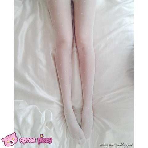 Dreaming Creamy White Heart/Bows Silk Tights SP130297 - SpreePicky  - 3