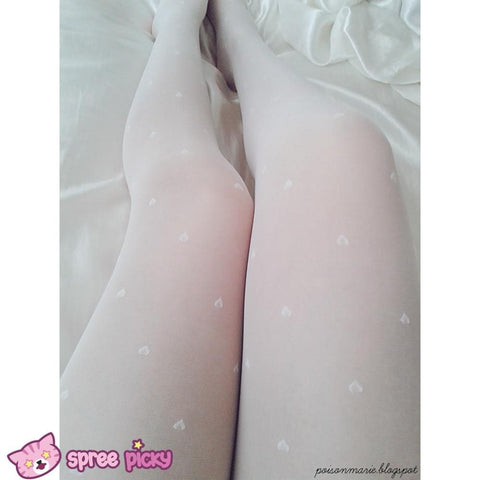 Dreaming Creamy White Heart/Bows Silk Tights SP130297 - SpreePicky  - 4
