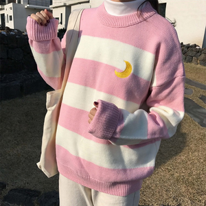 Pink/Purple/Black Kawaii Stripe Moon Sweater SP13290