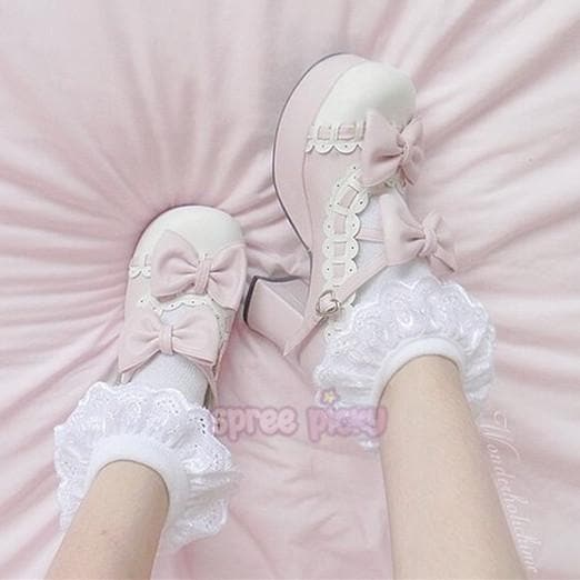 Plus Size Lolita Knotbow Joint Color Platform High Heel SP140531