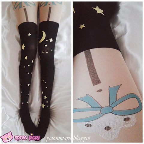 Starry Sky with Bow Fake Stocking Thigh High Tights SP140593