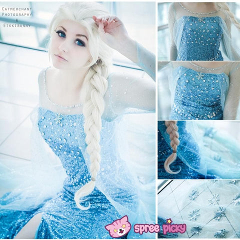 [Frozen] Queen Elsa Handmade Cosplay Long Gown SP140594 - SpreePicky  - 1