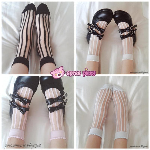 4 Colors Lolita Ankle Silk Socks SP140690