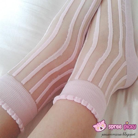[3 For 2] 4 Colors Lolita Ankle Silk Socks SP140690 - SpreePicky  - 5