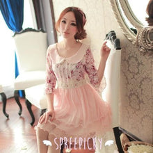 Load image into Gallery viewer, Doll Collar Lace Grenadine Floral High-Waisted Half Sleeve Dress SP140719 - SpreePicky  - 1
