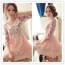 Load image into Gallery viewer, Doll Collar Lace Grenadine Floral High-Waisted Half Sleeve Dress SP140719 - SpreePicky  - 2
