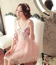 Load image into Gallery viewer, Doll Collar Lace Grenadine Floral High-Waisted Half Sleeve Dress SP140719 - SpreePicky  - 3