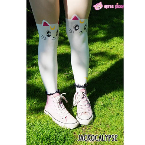 Screaming! Sailor Moon Luna Artemis Kitten with Tail on Back Legging Tights SP141305 - SpreePicky  - 4