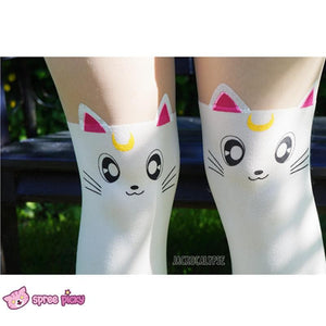Screaming! Sailor Moon Luna Artemis Kitten with Tail on Back Legging Tights SP141305 - SpreePicky  - 5