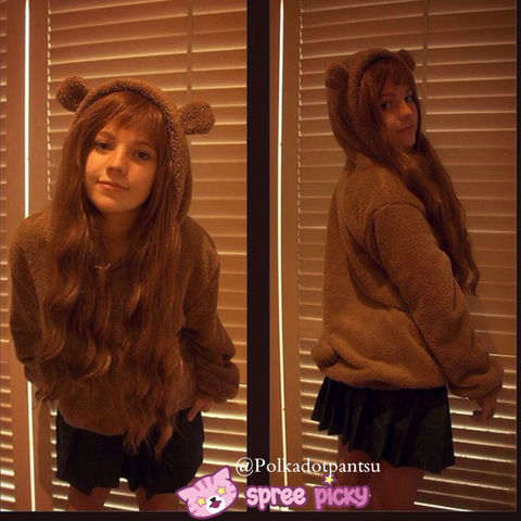 Kawaii Fluffy Bunny/Bear Ear Hoodie Coat Double Sides Fleece Jacket SP141466 - SpreePicky  - 1