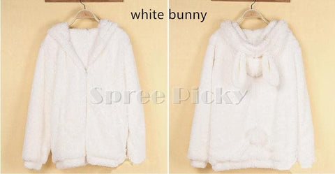 Kawaii Fluffy Bunny/Bear Ear Hoodie Coat Double Sides Fleece Jacket SP141466 - SpreePicky  - 4